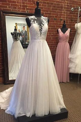 Sleeveless Sheer Plunging V Lace Appliques A-line Wedding Dress Featuring Sheer Back and Train