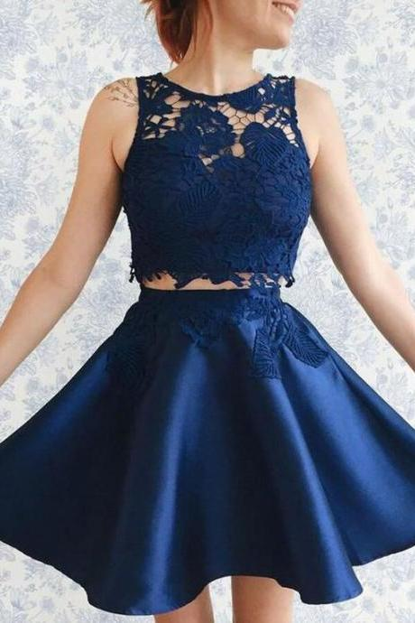 Royal Blue Short Two Pieces Homecoming Dress