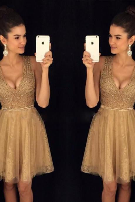 V Neck Beaded Short Prom Dress Homecoming Dress Graduation Dress