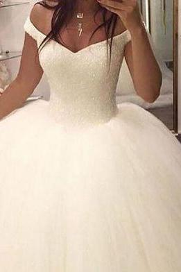 Corset Back Ball Gown Wedding Dress with Beads