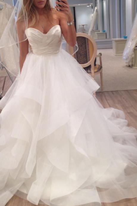 Sleeveless Tiered Wedding Dress with Horsehair Trim