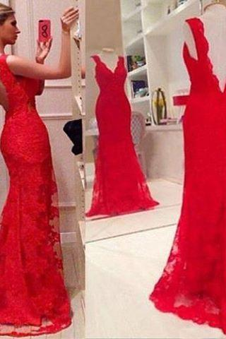 Overall Lace Evening Dress Red Formal Occasion Dress