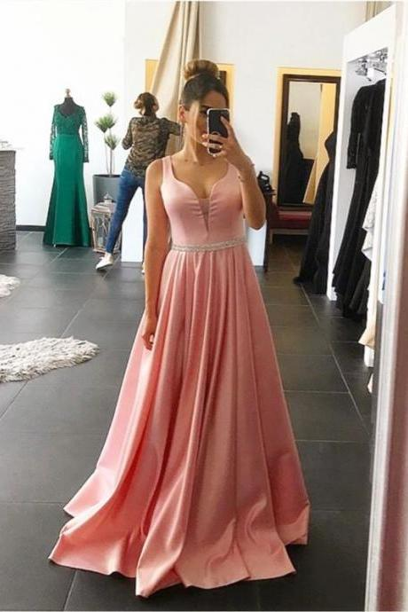 Sheer Neck Simple Prom Dress