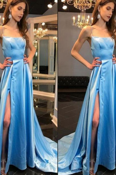 Blue Prom Dress with Slit