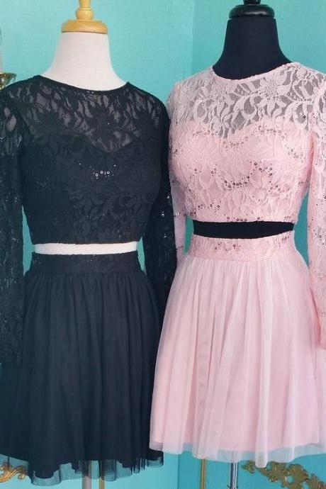 Two Pieces Lace Homecoming Dress