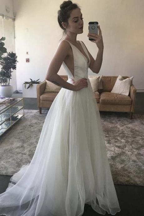 V Neck Simple Wedding Dress Ivory Prom Dress