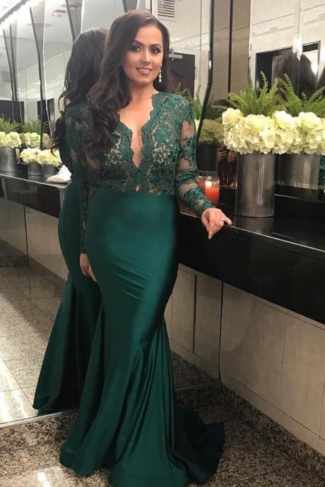 Long Sleeves Prom Dress Emerald Green Evening Dress