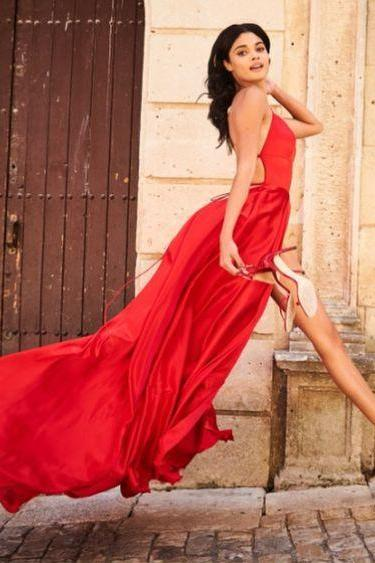 Simple Red Prom Dress with Slit
