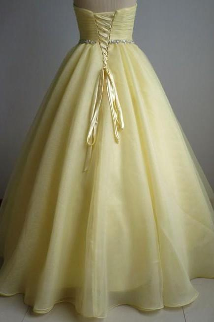 Sleeveless Yellow Ball Gown Prom Dress