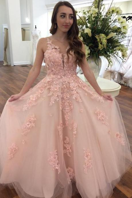 Sheer Plunging Neck Blush Prom Dress with Lace
