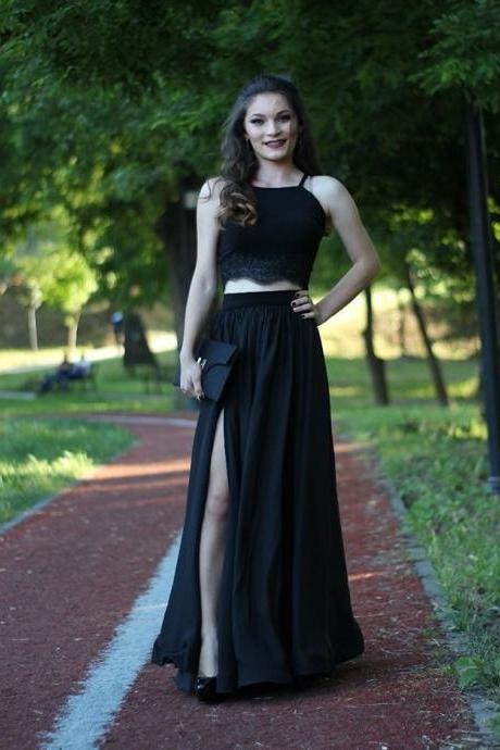 Black Two Pieces Prom Dress with Split Skirt