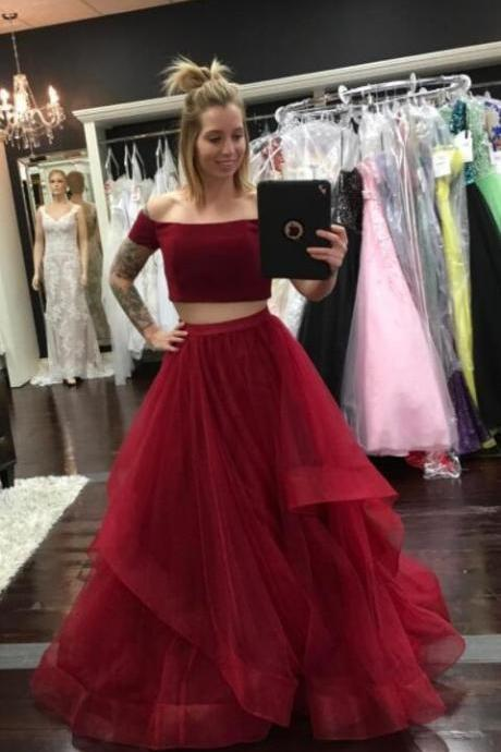 Burgundy Two Pieces Prom Dress with Tiered Skirt