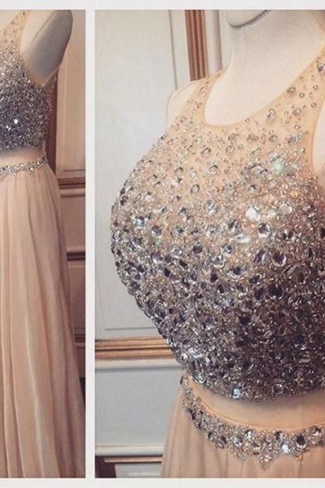 Sparkly Two Pieces Prom Gown