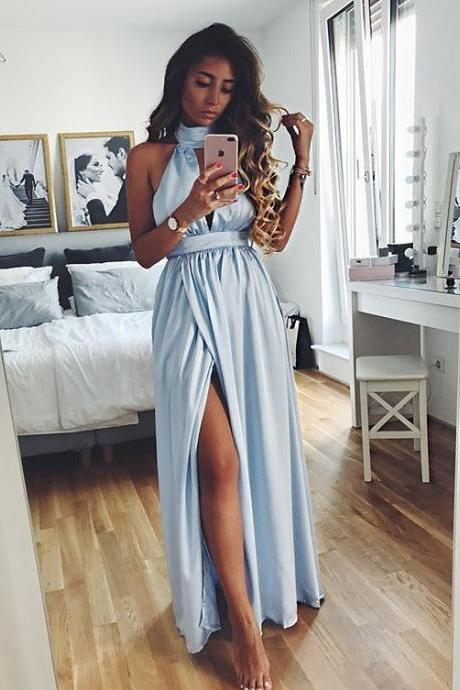 Floor Length High Neck Prom Dress with Slit