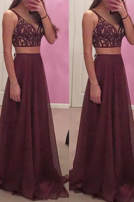 Two Pieces Chiffon Prom Dress with Exposed Bone Top