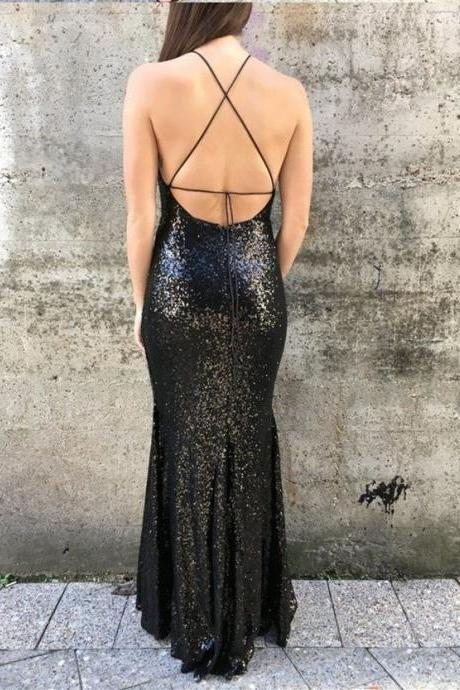 Floor Length Black Sequin Prom Dress with Tie Back Women Pageant Dress