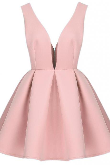 Nude Pink Short Homecoming Dress