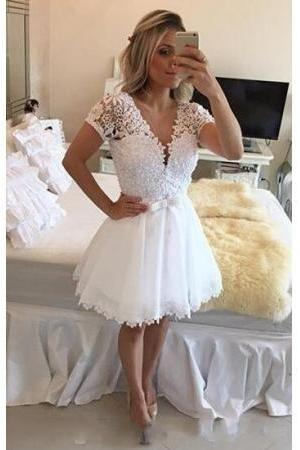 Short Sleeves Lace Homecoming Dress with Beads