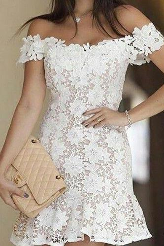 Off the Shoulder Short Lace Party Dress
