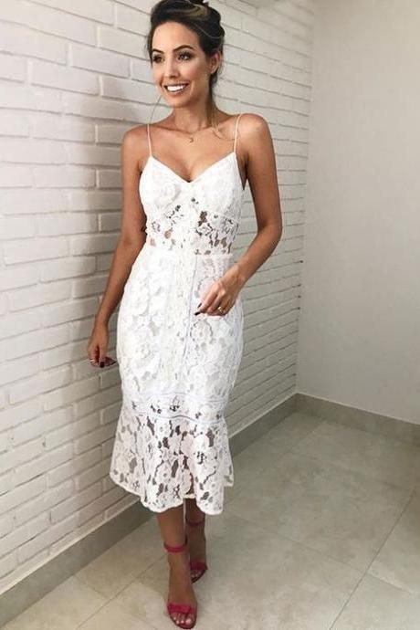 Spaghetti Straps V Neck Lace Dress