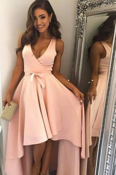 V Neck High Low Hoco Dress Party Dress