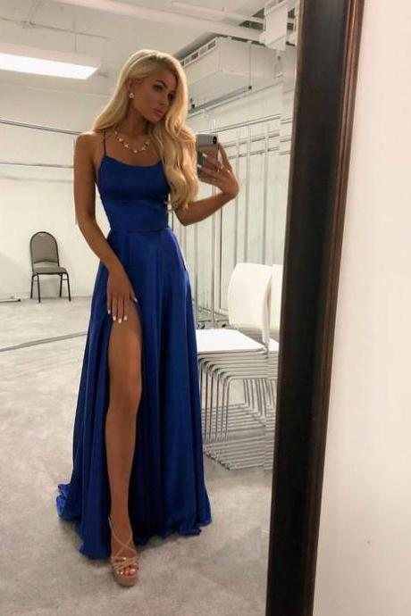 Scoop Neckline Royal Blue Pageant Dress Prom Dress with Slit