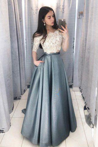 Two Pieces Prom Dress with Half Sleeves Lace Top