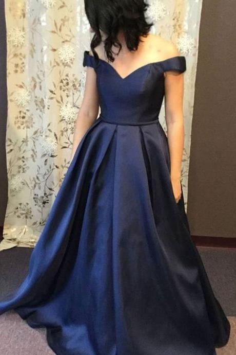 Off the Shoulder Navy Prom Dress with Corset Back Pageant Dress