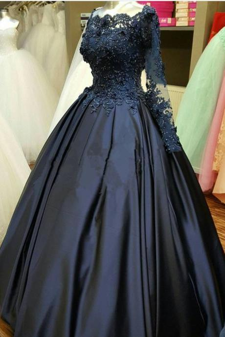 Navy Ball Gown Pageant Dress Long Sleeves Prom Dress with Appliqued Bodice