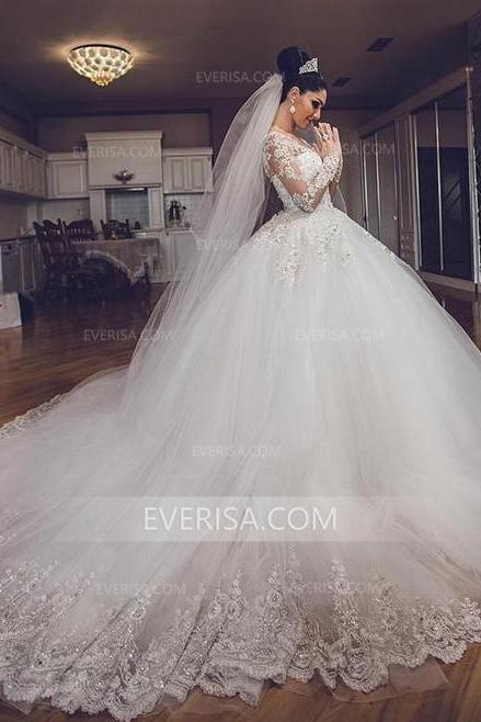 Long Sleeves Ball Gown Wedding Dress