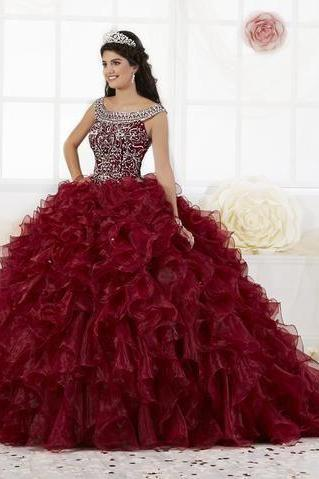 Sparkly Ball Gown Quinceanera Dress with Ruffled Skirt