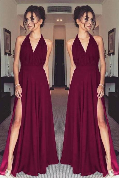 Halter V Neck Pleated Bodice Prom Dress with Slit