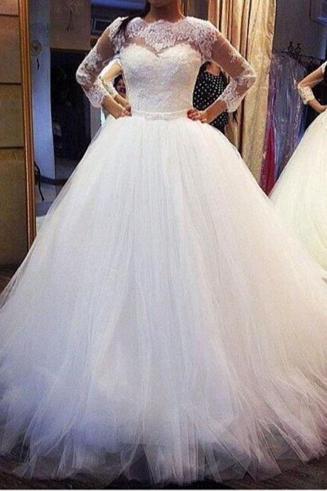 Three Quarters Sleeves Ball Gown Wedding Dresses