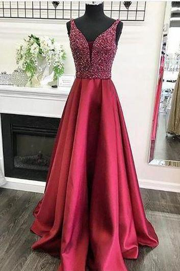 Mesh Plunging Neck Prom Dress with Beads