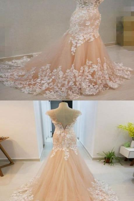 Jewel Neck Mermaid Lace Wedding Dress