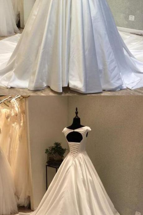 Cap Sleeves Satin Wedding Dress with Corset Keyhole Back