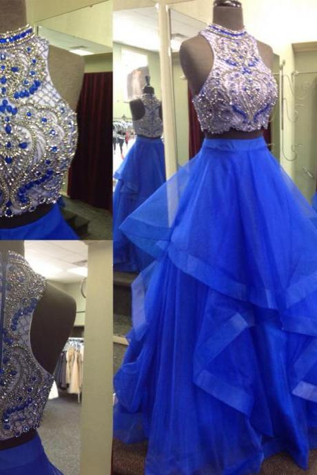 Royal Blue Two Pieces Prom Dress with Beaded Crop Top