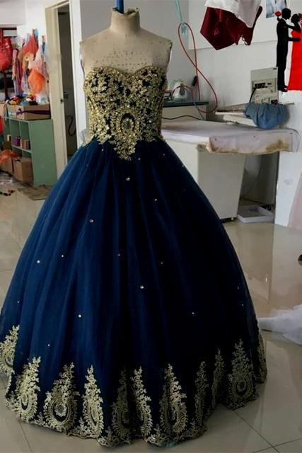 Sleeveless Navy Blue Ball Gown Prom Dress with Gold Appliques