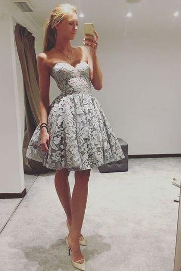 Sweetheart Short Lace Party Dress