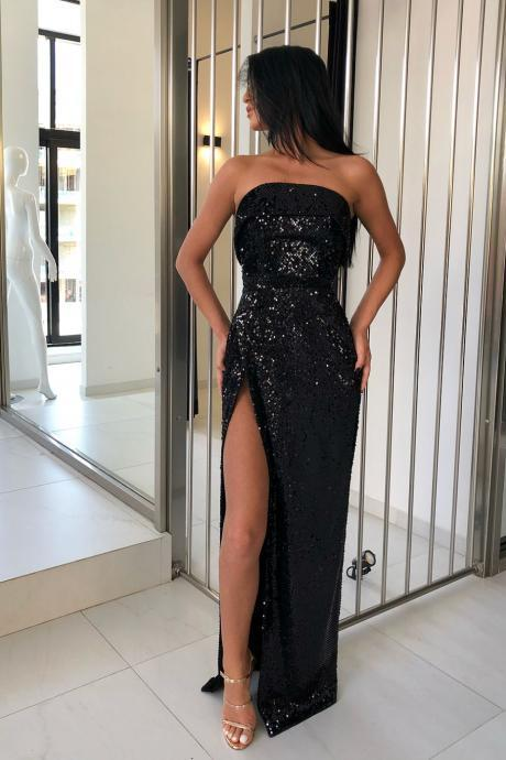 Strapless Black Sequin Evening Gowns with Split