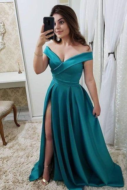 Off the Shoulder Turquoise Prom Dress Evening Gown