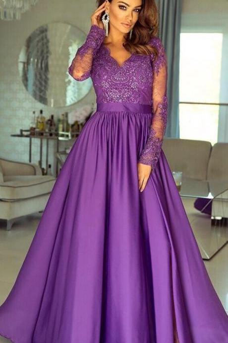 Lavender Long Sleeves Prom Dress with Appliques