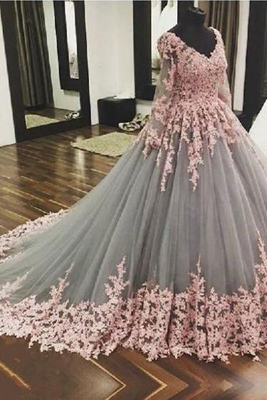 V Neck Ball Gown Pageant Dress with Lace