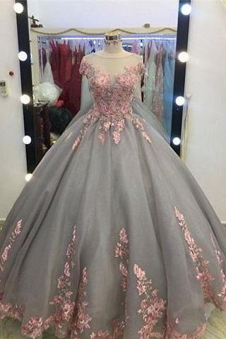 Cap Sleeves Sheer Neck Ball Gown Prom Dress with Lace