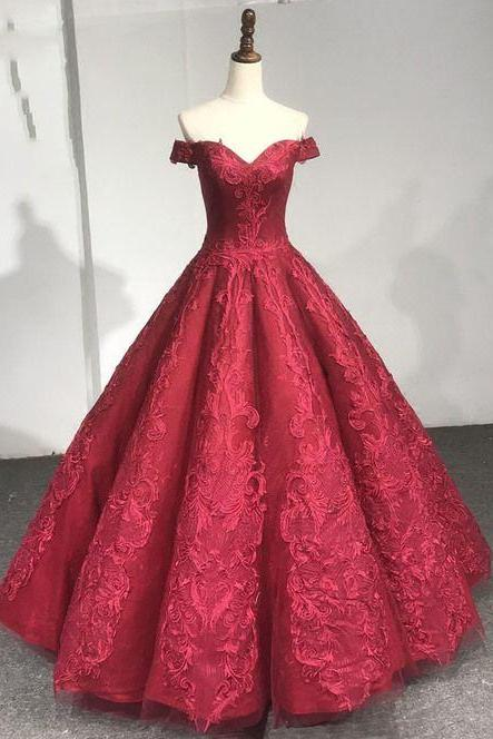 Off the Shoulder Lace Ball Gown Prom Dress
