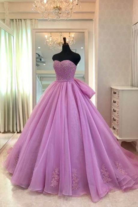 Lavender Ball Gown Prom Dress with Appliques