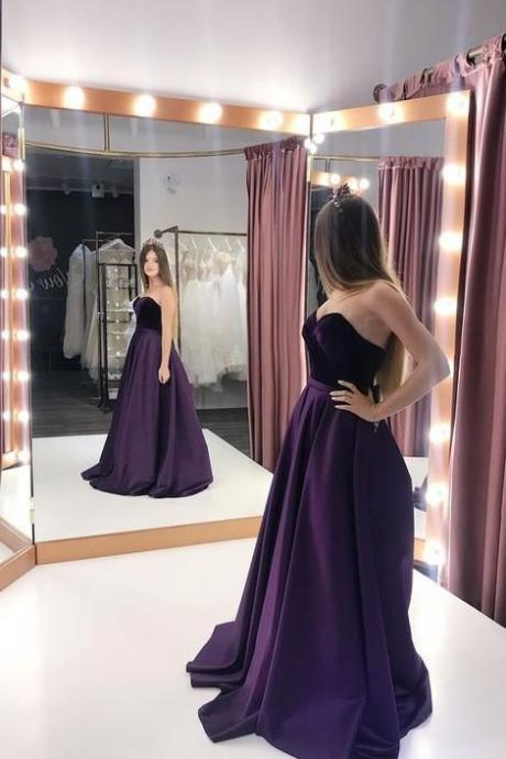 Sweetheart Grape Prom Dress with Velvet Bodice Evening Gown