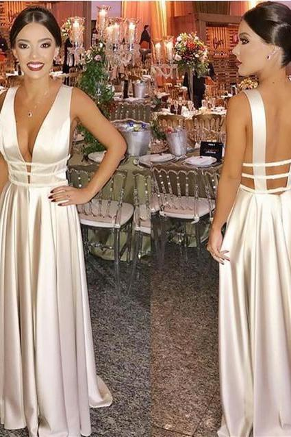 Plunging Neck Prom Dress with Open Back