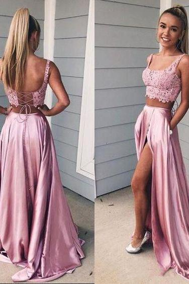 Two Pieces Prom Dresses with Lace Top