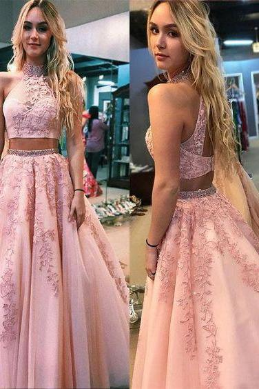 Two Pieces Prom Dress with Keyhole Back Top